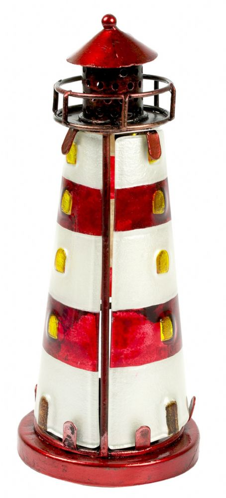 Red Stained Glass Lighthouse Metal Nautical Tea Light Holder